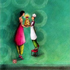 Gaelle Boissonard Happy Paintings, Beautiful Paintings, Marie Cardouat, Reproductions Murales, Art Fantaisiste, Art Carte, Cup Art, Sweet Pic, Art Moderne