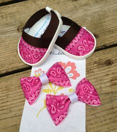 Adorable Western Shoes & matching Hair Bows for by petitesbowtique, $8.50