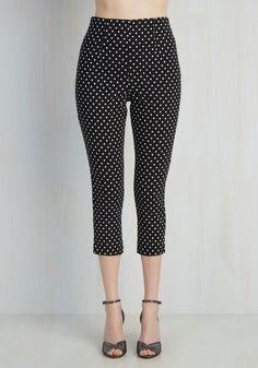 Jive Got a Feeling Pants in Black Dots. Bop around to your vintage records in retro-inspired glamour with these sleek black-and-white, polka dotted pants! #black #modcloth