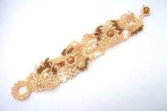 Seed bead bracelet, Beadwork bracelet, Freeform peyote Beaded Cuff Bracelet, Summer fashion, pastel