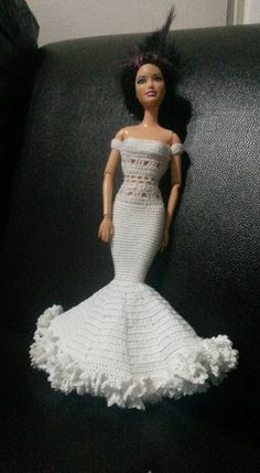 Crocheted white party or wedding dress for Barbie 2015