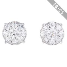 Pre-owned Diamond Cluster Earrings 2.00CTW
