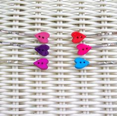 Button Bobby Pins - Hearts, Pink, Purple, Teal, Red, Magenta