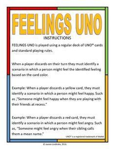 Nurses Discover Feelings Uno Turn the classic game of UNO into a counseling game that can help teach students about feelings! Print the poster page and use as a visual to remind kids of matching feelings to card colors. Group Therapy Activities, Therapy Games, Speech Therapy, Therapy Tools, Therapy Ideas, Kids Therapy, Counseling Activities, Elementary School Counseling, Career Counseling