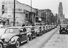 taxis, cabs at the Kurfuerstendamm. Country Information, Kdf Wagen, Potsdamer Platz, West Berlin, Ferdinand Porsche, Volkswagen, Old Boats, East Germany, World History