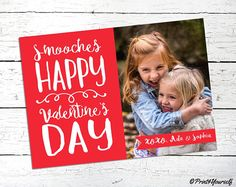 Valentines Photo Card // Personalized Printable Smooches Happy