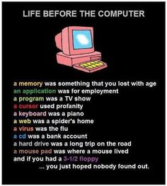 Computer funny poster of life before the computer.