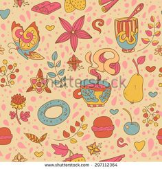Seamless vector hand drawn background with sweets, tea, cupcake, coffee and flowers - stock vector