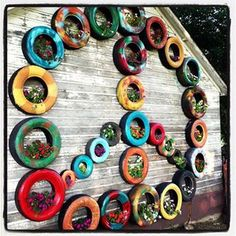 old tires as planters...