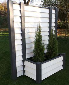 Mobiler Sichtschutz mit Pflanzkasten 185 x 120 Blumenkasten weiss in ...