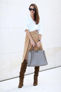 Los mejores looks de noviembre 2014 fashion Vibe con falda midi, camisa blanca y botas altas