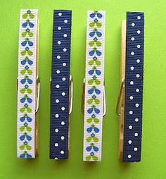 Clothespins with magnet on back ribbon on front. Great idea for #school locker.