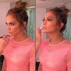 Jennifer Lopez On 'American Idol' getting her makeup did!!! -- Pretty in Pink! #Flawless