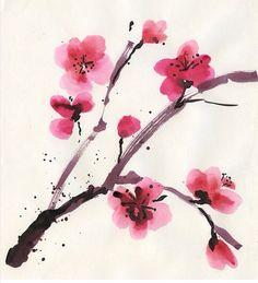 Watercolor Cherry Blossom Tattoo Idea