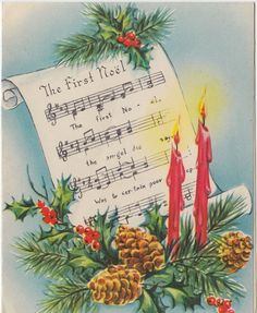 The 160 best music sheet cards images on pinterest in 2018 vintage greeting card christmas candles sheet music the first noel m4hsunfo