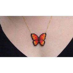 Collier papillon tressé perles de miyuki delicas noir orangé - Nos boutiques de créateurs/LiLijoliebijoux - Valenteens Créateurs