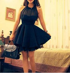 Black halter tulle dress,black dresses - Thumbnail 2
