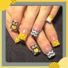 Yellow and grey owl nails