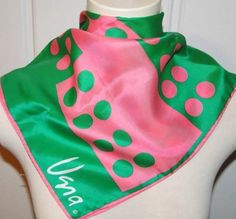 VTG-VERA-Neumann-SILK-SCARF-SQUARE-POLKA-Dot-PINK-GREEN-ROLLED-EDGE-Mod-SIGNED. Vintage Adventure eBay listing for vintage Vera Neumann silk scarf. Listing ends March 6, 2015.