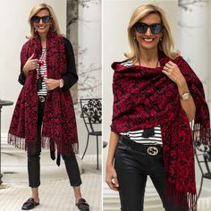 Our Reversible Red Black Jacquard Shawl featured on my blog this week is a great piece to add to you outfit in these cold days. Stop by and check this piece and lots more in our shop www.jacketsociety.com
