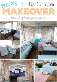 Check out this amazing pop up camper makeover! Becca and her husband completely transformed their tent trailer in two weeks and for less than $300. Score!