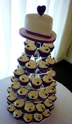 Purple heart themed wedding cupcake tower by Star Bakery (Liana),