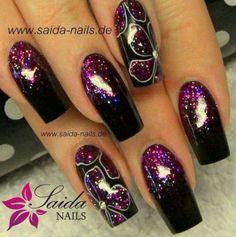 33 Ideas Nails Design Purple Flower For 2019 Fingernail Designs, Acrylic Nail Designs, Nail Art Designs, Nails Design, Design Design, Floral Design, Pretty Nail Art, Beautiful Nail Art, Gorgeous Nails
