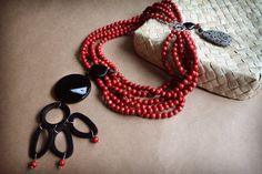 necklace coral and onyx tribal night and fire