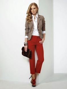Love this outfit, I would feel cool and hip wearing this. I would've never thought red pants could look professional until I saw this. Would not change anything about this look.