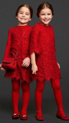 Монохромный образ для девочек - красные платья на каждый день и для праздников.