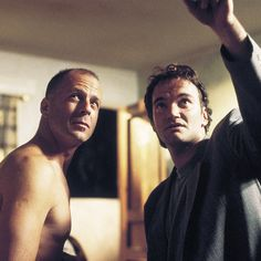 """Bruce Willis and Quentin Tarantino beind the scenes, """"Pulp Fiction"""" 1994."""