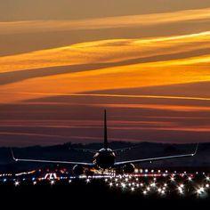Night Flight - Krakow Airport -photo taken by Maciej Kwarciany