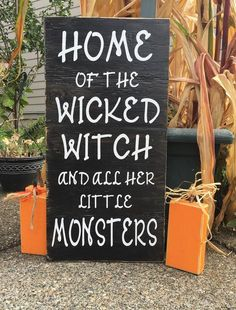 Halloween at it's finest! Lets jump into the festivities with this creative sign! These are hand painted, lightly sanded and made from new wood right here in the heartland of America, then the vinyl w