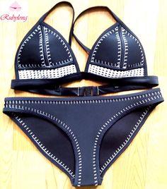 ネオプレン水着ビキニ熱い女性のかぎ針編み手作りネオプレンビキニセット女の子セクシーな水着水着水着ビーチウェア