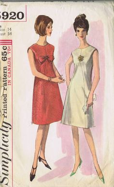 """SIZE 14 BUST 34 WAIST 26 HIP 36""""    Simplicity Pattern  Pattern Number 5920  Copyright: 1965    Vintage 60's One Piece Dress Pattern    Collarless and sleeveless, A-Line Sheath Dress pattern with optional lining has shaped front inset, back zipper closing, round neckline and optional bow trim."""