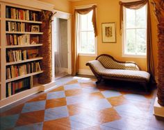 Love the painted floor and that chaise. Painted Hardwood Floors, Rustic Wood Floors, Wood Flooring, Flooring Ideas, Porch Flooring, Plywood Floors, Floor Design, House Design, Hall Design