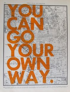 """$40 - 11x14 """"You can go your own way"""" on Seattle map"""