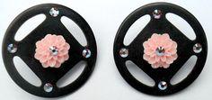 Big Wheel Button Post Earrings w/ Swarovski Crystals by CrashsCuriosities