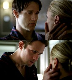 I always thought Eric always looked at Sookie more intense and longingly than Bill Hbo Series, Series Movies, Sookie True Blood, Anna Paquin True Blood, Eric And Sookie, True Blood Series, Alexander Skarsgård, Eric Northman, Grimm Fairy Tales