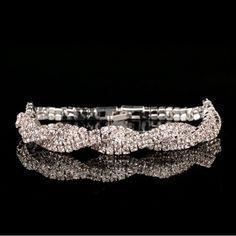 Double Silver Pattern Rhinestone Bracelet