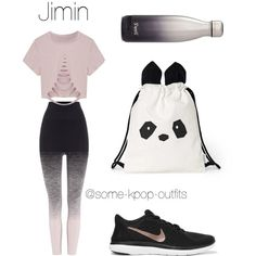 Dance Practice with Jimin by some-kpop-outfits on Polyvore featuring polyvore, fashion, style, Pepper & Mayne, NIKE, S'well and clothing