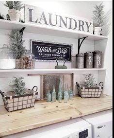 Small laundry room ideas - farmhouse laundry room decorating ideas for the home . Small laundry room ideas – farmhouse laundry room decorating ideas for the home – farmhouse rus Laundry Room Shelves, Laundry Room Remodel, Basement Laundry, Small Laundry Rooms, Laundry Room Organization, Laundry Room Design, Small Bathrooms, Laundry Area, Laundry Tips