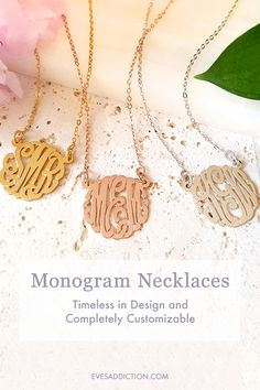 Timeless and classic, Monogram Necklaces are a quintessential addition to any jewelry collection. With a 30% discount, you can easily create your very own monogram necklace personalized with your initials. Monogrammed jewelry also makes for a perfect birthday, Christmas or anniversary gift! Get free shipping when you order from Eve's Addiction today. #monogram