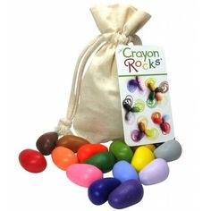 Crayon Rocks are safe and non-toxic crayons, made from all-natural, USA-grown soy wax, using natural mineral pigments. Created by a special education teacher, w