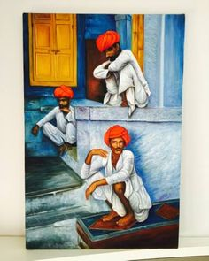 """Saatchi Art is pleased to offer the painting, """"red turban rajasthani man,"""" by khushbu agrawal. Original Painting: Oil on Canvas. Rajasthani Art, Turban, Oil On Canvas, Saatchi Art, Original Paintings, Artist, Red, Turbans, Painted Canvas"""