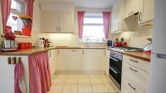 Kitchen with curtains