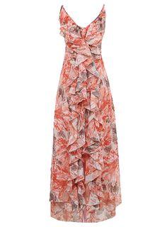 Red Spaghetti Strap Asymmetrical Ruffles Split Dress   ---ruffles with messy pattern.