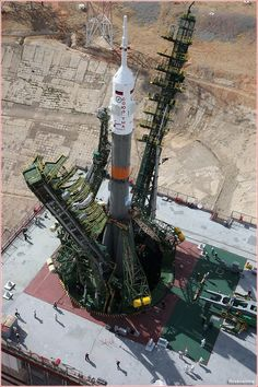 A Soyuz-FG rocket with the Soyuz-TMA-17 spacecraft  on the pad
