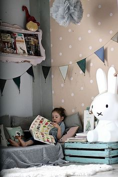 kids room by Paul+Paula, via Flickr - love the children's room with the reading corner and spotty wallpaper