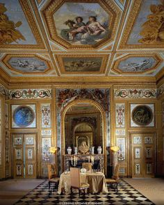 """BAROQUE INTERIORS:ALL 17TH CENTURY  Le Brun,Charles  Vaux-le-Vicomte, """"Salle des Buffets"""",the dining room. The residence of Nicolas Fouquet, minister of finance to king Louis XIV, was built by architect Le Vau, interior decoration by Le Brun, Garden by Le Notre.   Chateau, Vaux-le-Vicomte, France"""